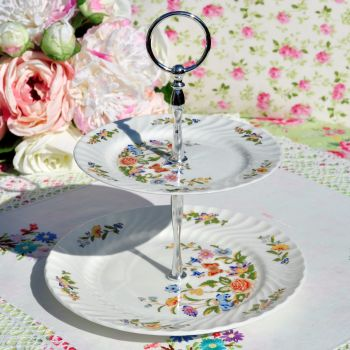 Aynsley Cottage Garden 2 Tier Cake Stand