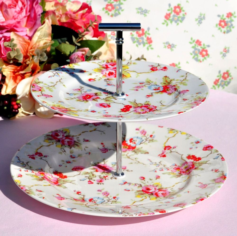Cath Kidston Blossom 2 Tier Cake Stand