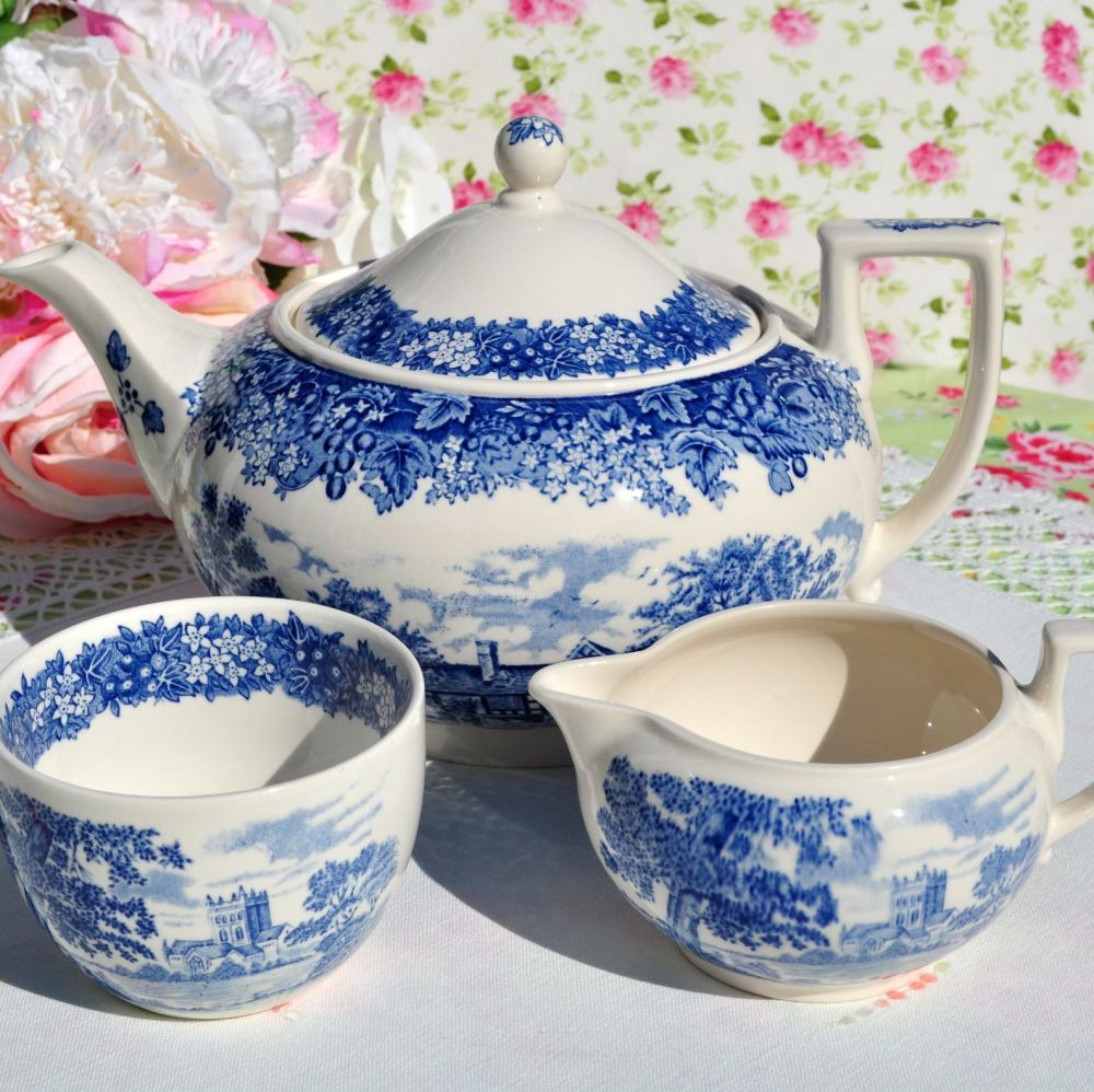 Wedgwood Romantic England Teapot, Milk Jug and Sugar Bowl