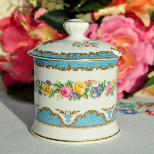 Crown Staffordshire Tunis Blue Lidded Preserve Pot