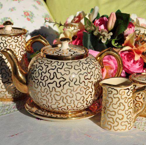 Sadler-Sudlow Cream and Gold 5 Piece Teapot Set c.1930s