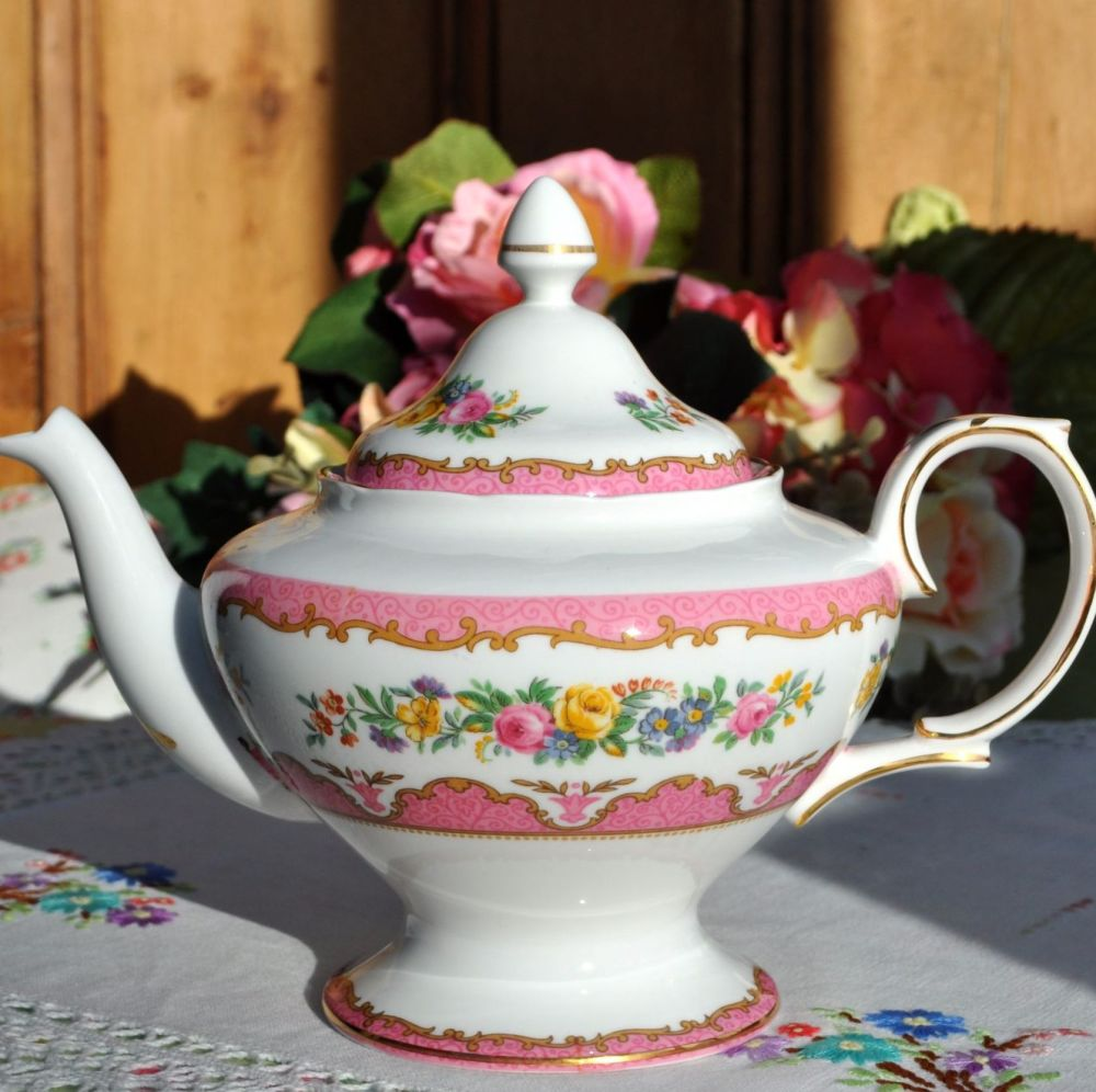 Crown Staffordshire Tunis Pink Teapot c.1930+
