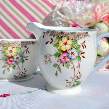 Stanley China Hand Painted Milk Jug and Sugar Bowl c.1950s