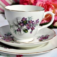 Harleigh Violets and Bow Vintage China Teacup Trio