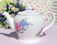 Shelley Orchids Bone China Teapot c.1950s