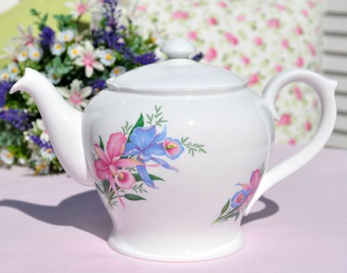 Shelley Orchids Bone China Teapot c.1950s