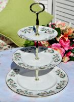 Crown Staffordshire Wild White Rose 3 Tier Cake Stand