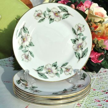 Crown Staffordshire Wild White Rose 16cm Tea Plates Set
