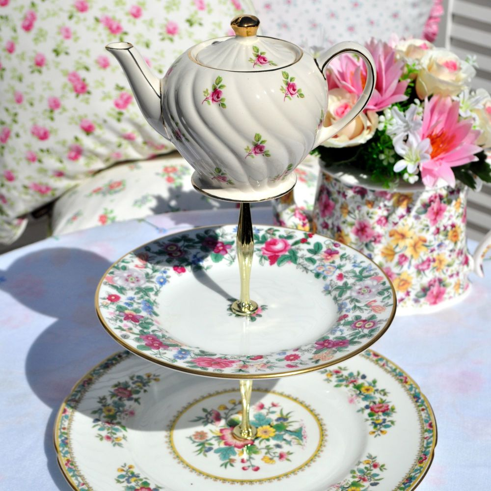Ditsy Roses Teapot Top 3 Tier Cake Stand