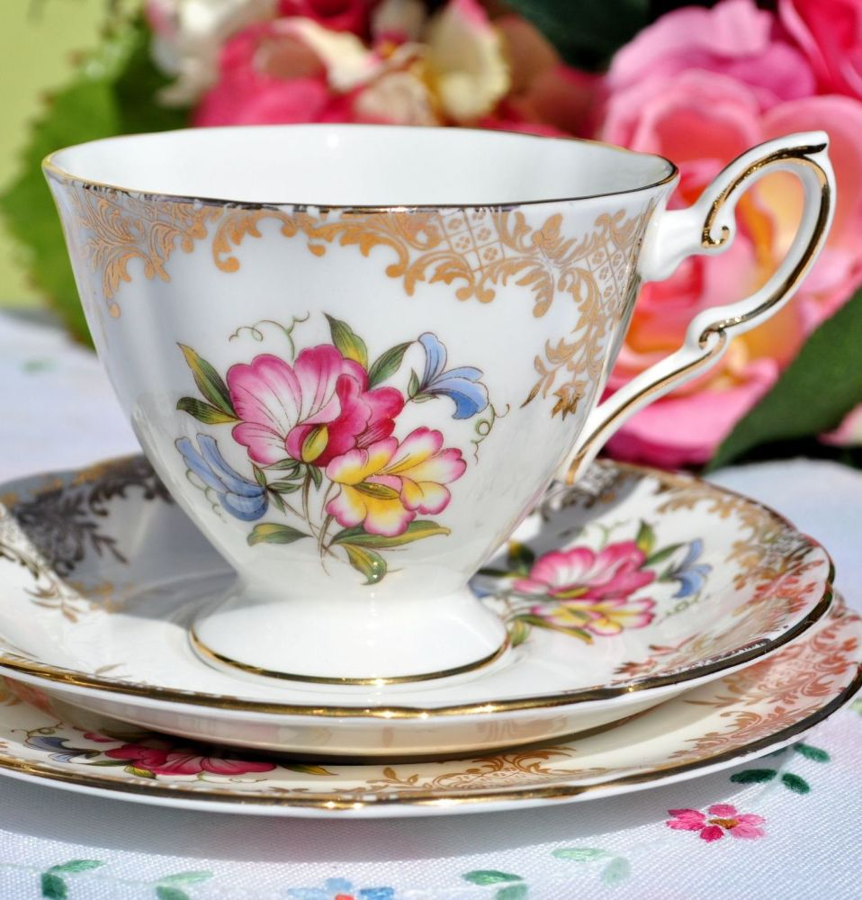 Royal Standard Floral Spray and Gold Filigree Teacup Trio