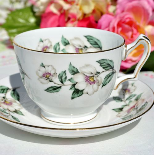 Wild White Rose Breakfast Teacup and Saucer