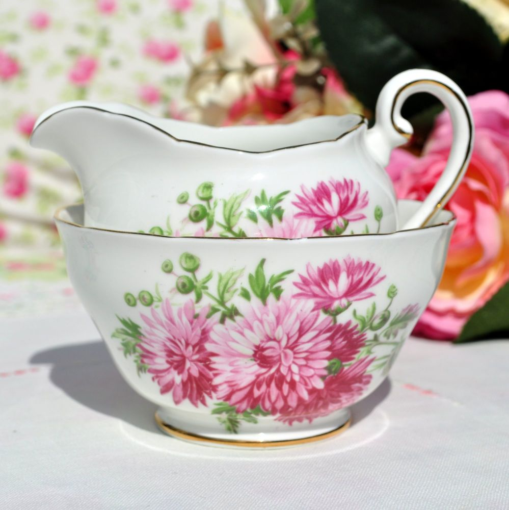 Adderley Pink Chrysanthemum Milk Jug and Sugar Bowl