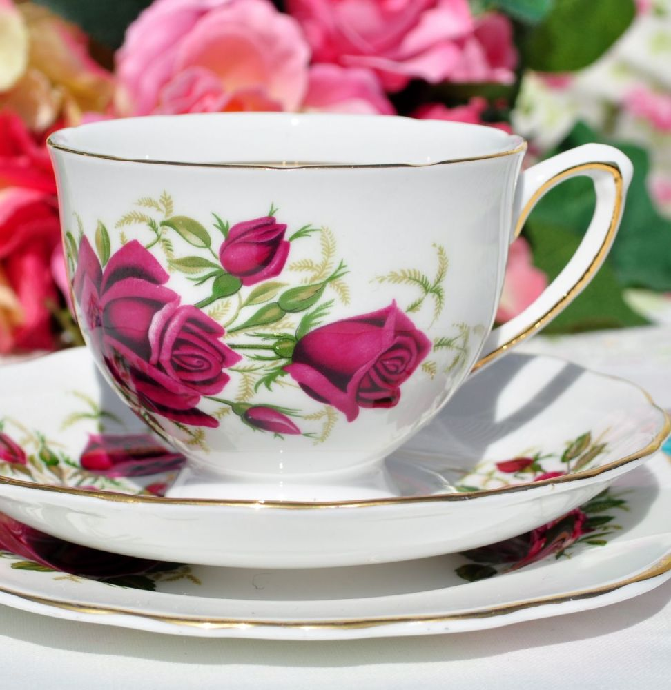 Colclough Red Roses China Teacup Trio c.1960s