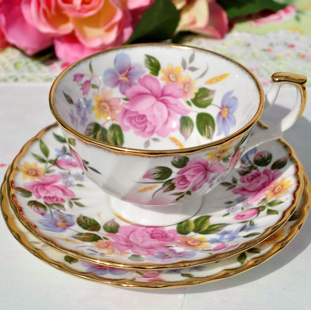 Pink and Lilac Floral Fine China Teacup Trio c.1970+