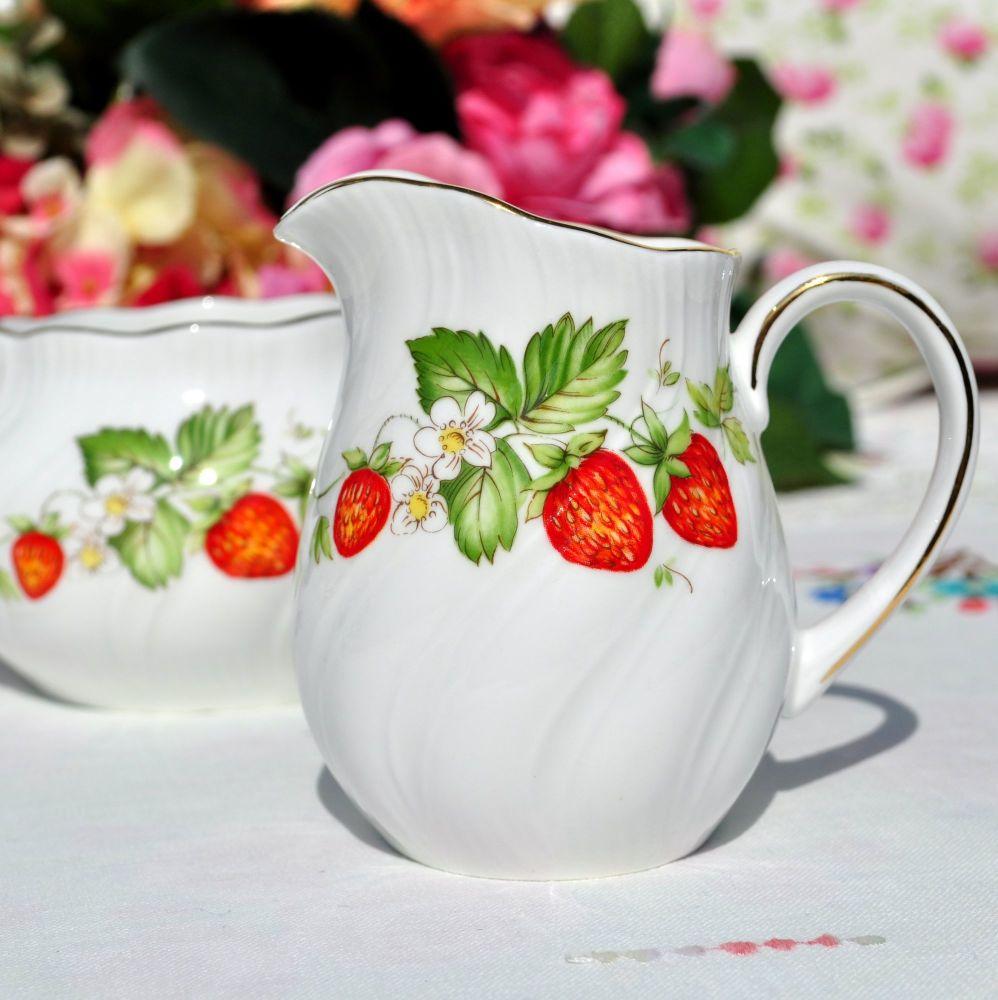 Queen's Virginia Strawberry Milk Jug and Sugar Bowl