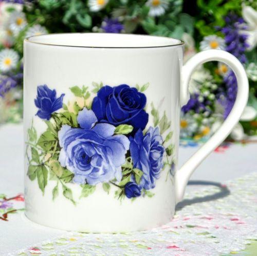 Sheltonian Floral China Blue Rose Tea Or Coffee Mugs