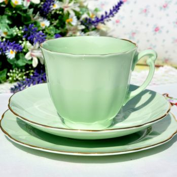 Glade Green Bone China Tea Trio c.1950s