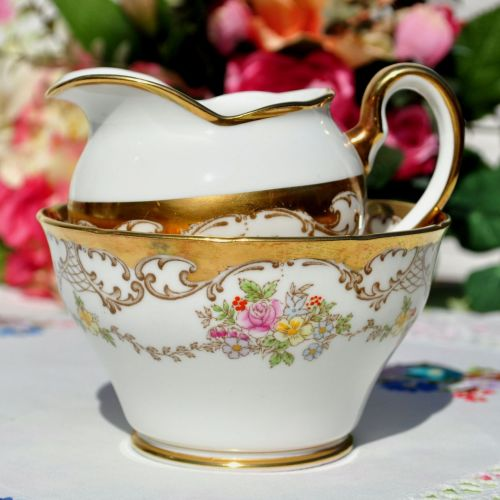 Salisbury Chelsea Pattern Gold Floral Milk Jug and Sugar Bowl c.1930's