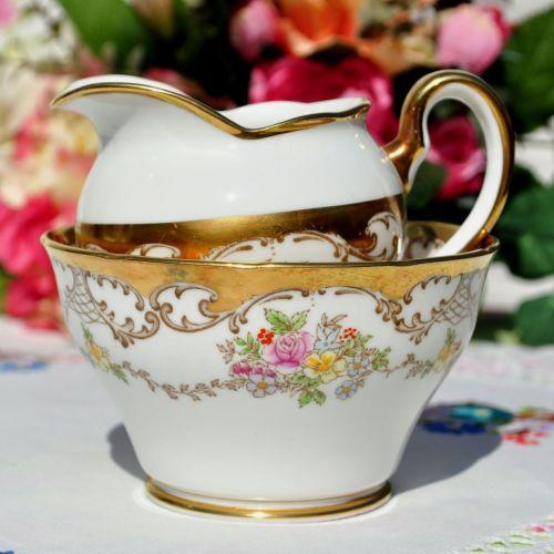Salisbury Chelsea Pattern Gold Floral Milk Jug and Sugar Bowl c.1930's