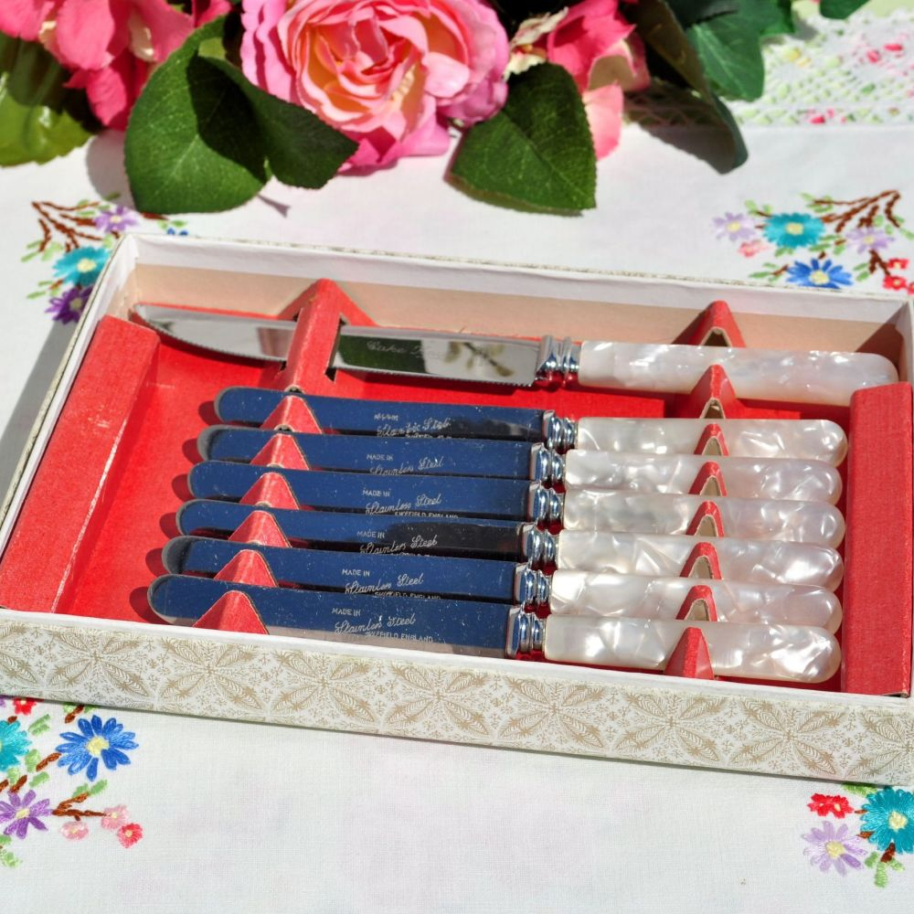 Stainless Steel 7 Piece Cake Knife Set c.1950s