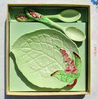 Carlton Ware Foxglove Preserve Dish and 2 Spoons c.1930-40s