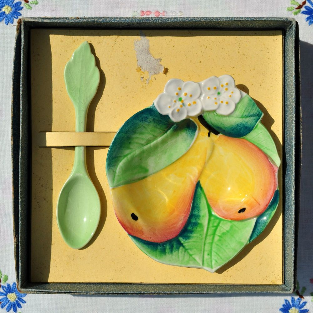 Carlton Ware Pear Blossom Preserve Dish and Spoon c.1930-40s