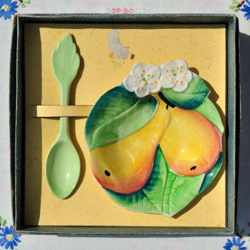 Carlton Ware Pear Blossom Preserve Dish and Spoon c.1930-40s