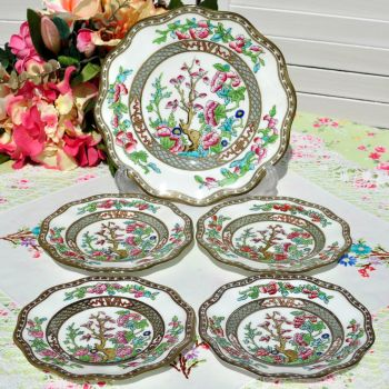 Antique Coalport Indian Tree 5 Piece Cake Plates Set
