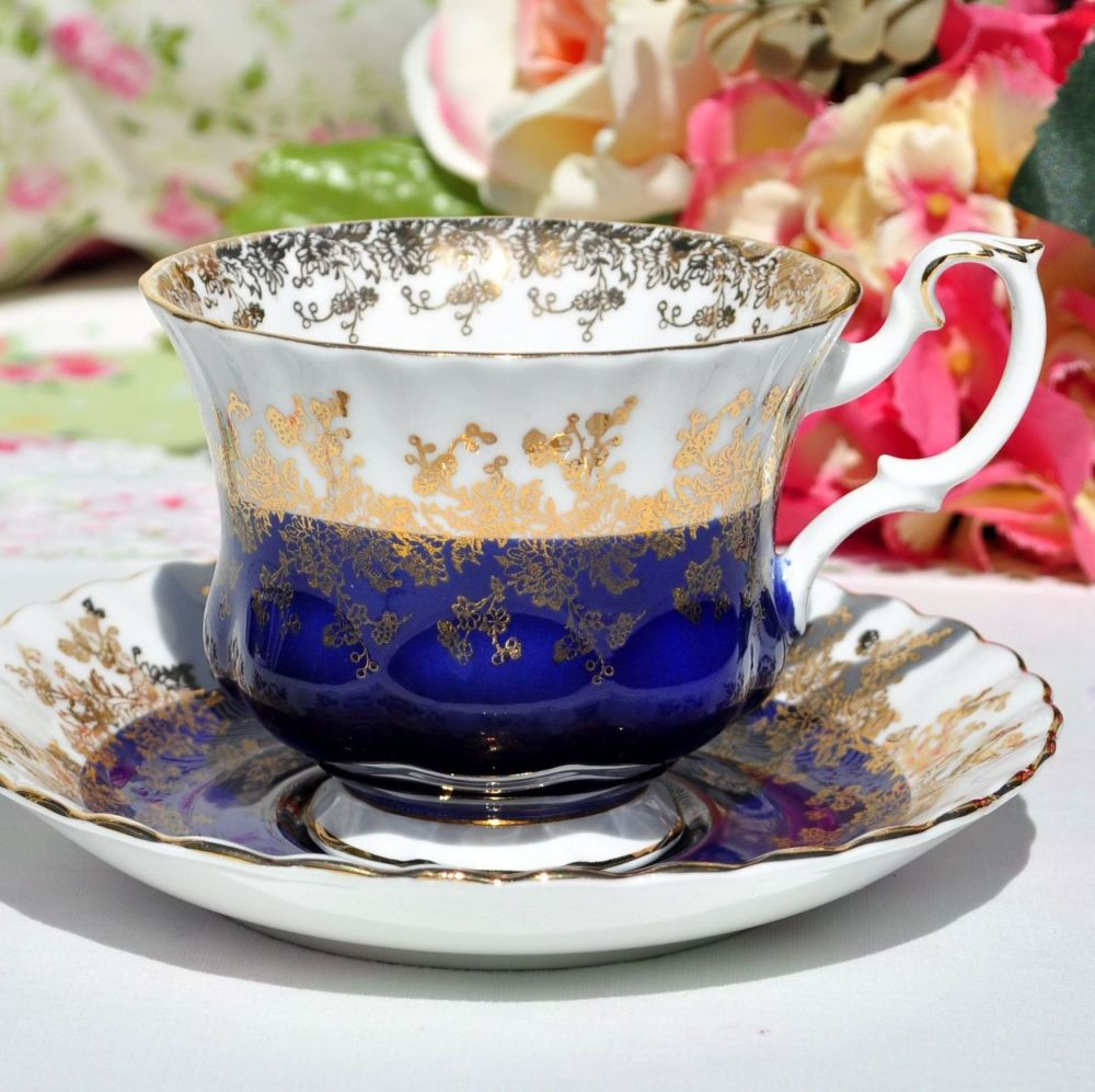 Royal Albert Regal Blue Teacup and Saucer c.1970