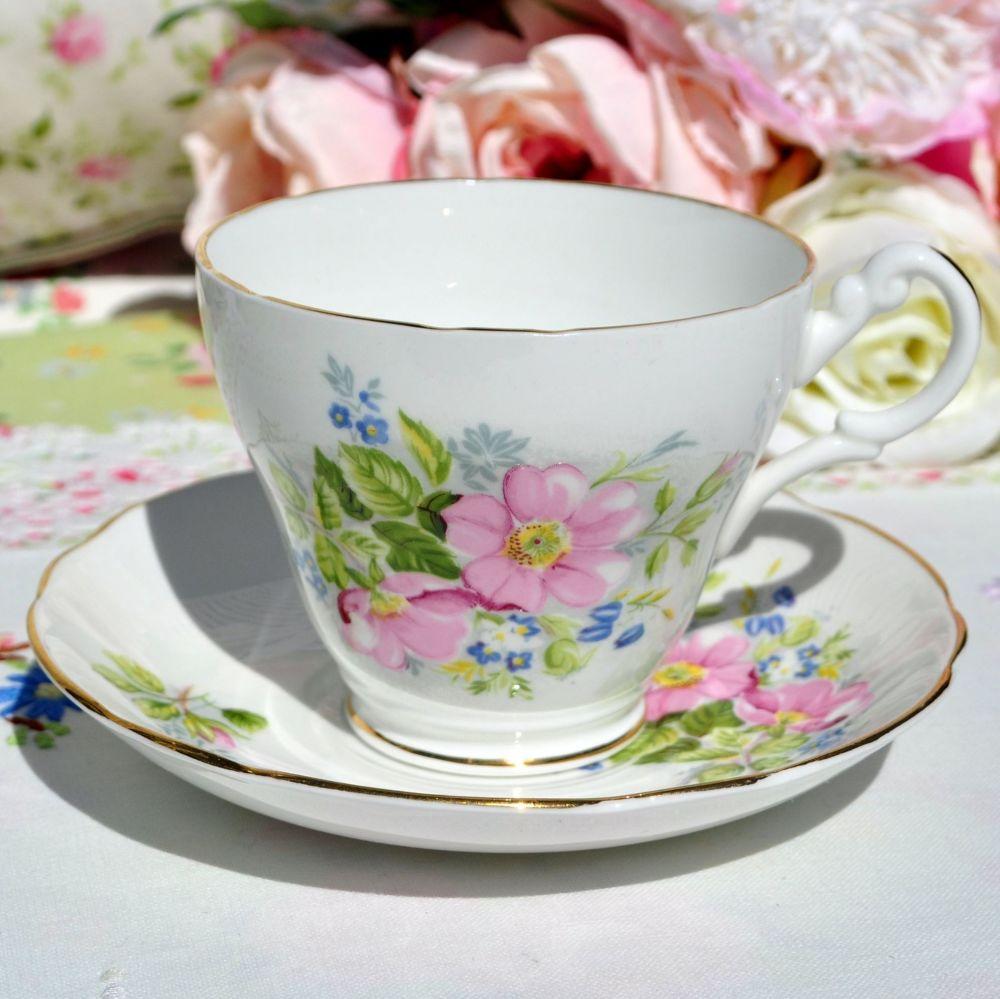 Argyle Pink Rose Teacup and Saucer