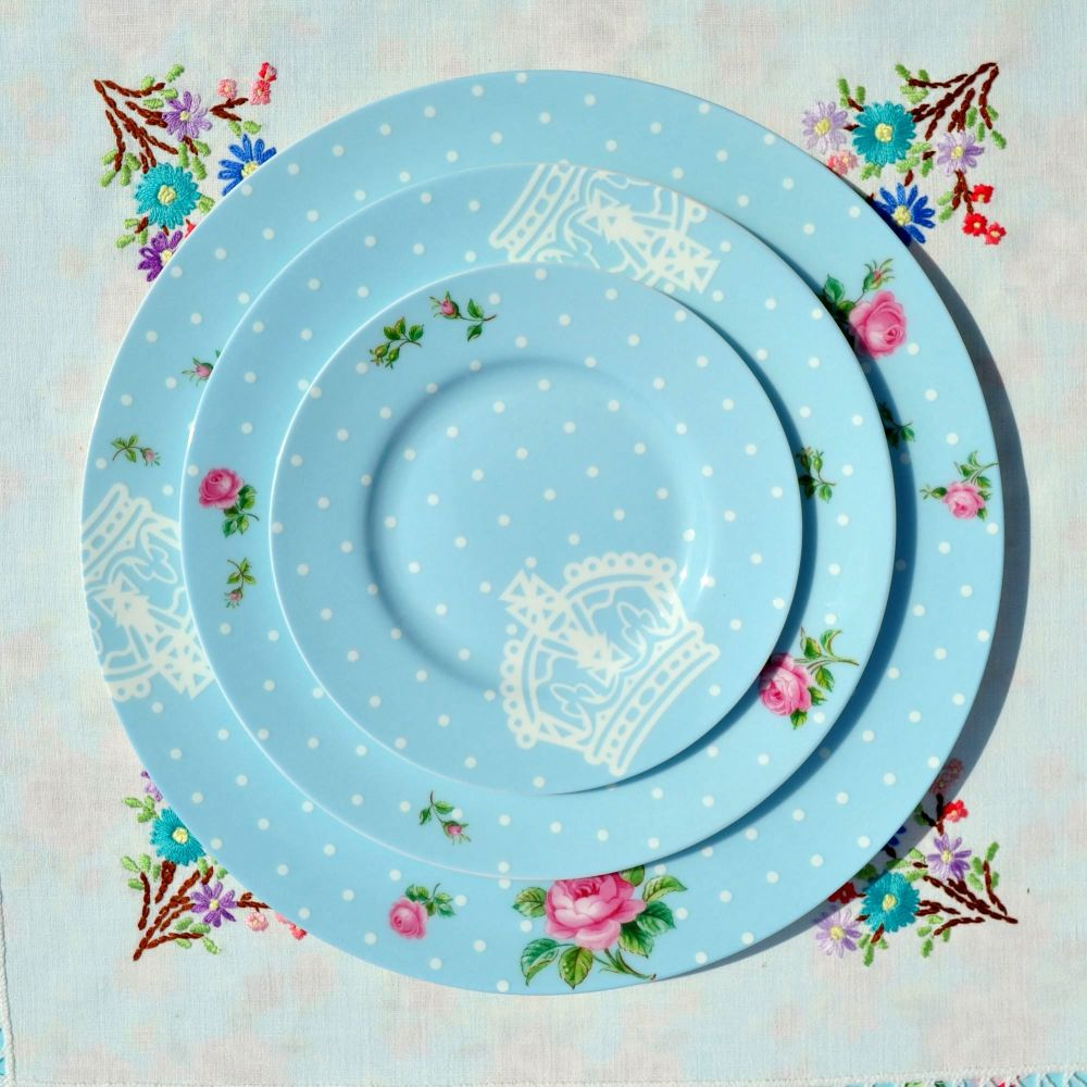 Royal Albert Polka Blue 3 Plates Place Setting