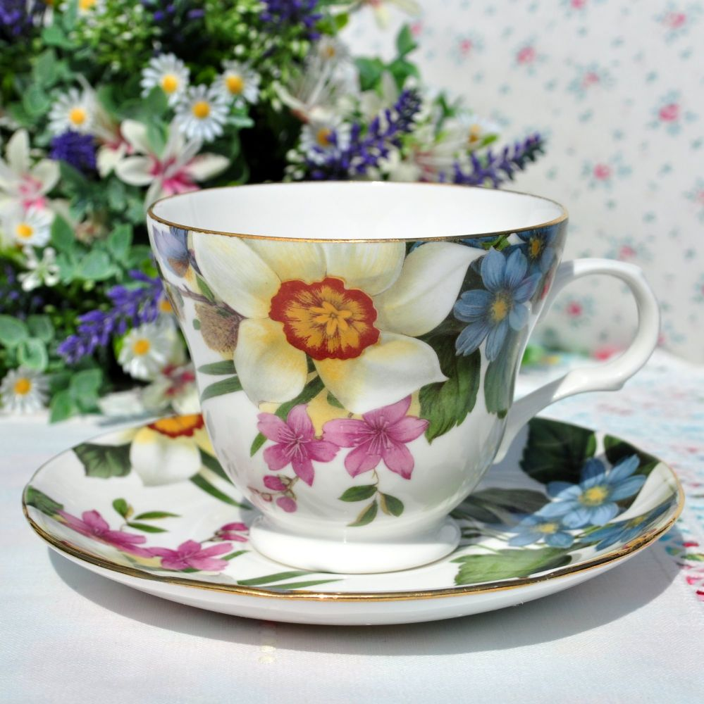 Bright Floral Bone China Teacups and Saucers