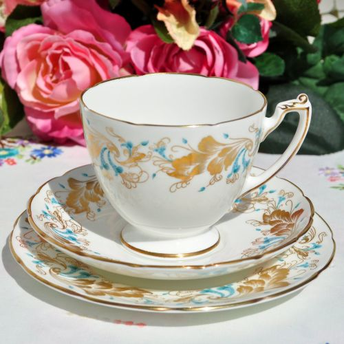 Coalport Strange Orchid Bone China Teacup Trio
