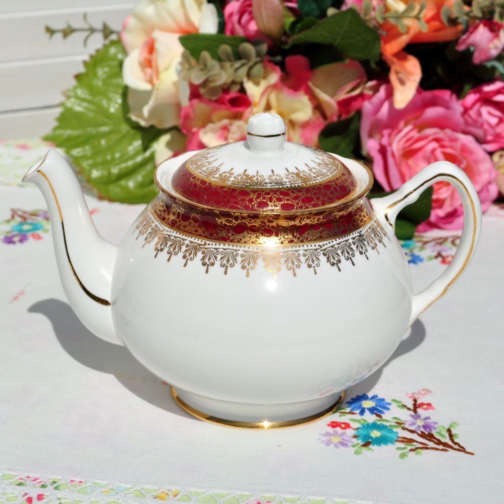 Duchess Winchester Red and Gold China 1.25 Pint Teapot