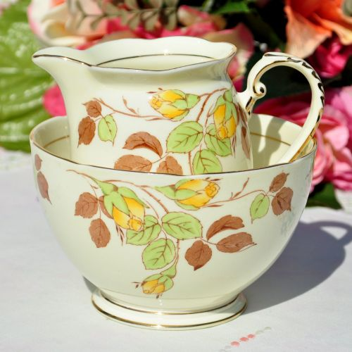 Royal Grafton Rose Bud Milk Jug and Sugar Bowl c.1950+