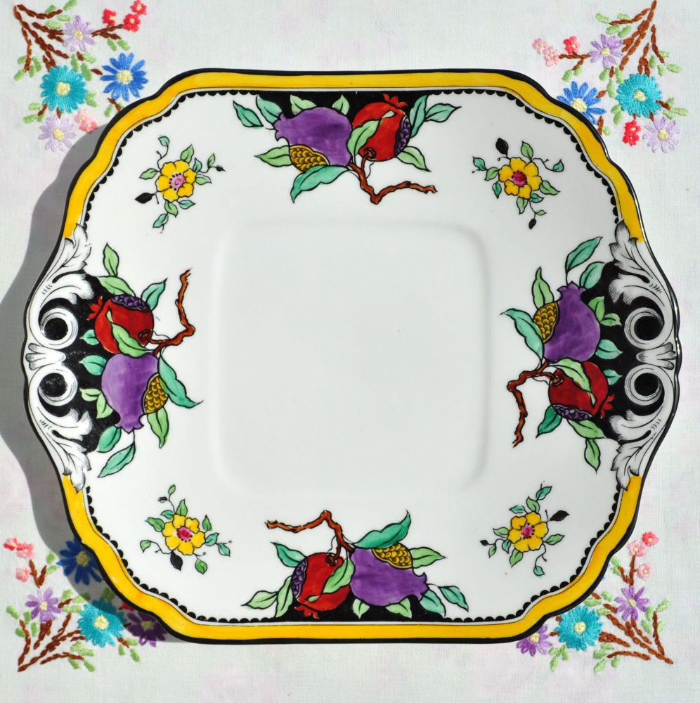 Art Nouveau Hand Painted Bread and Butter, Cake, Sandwich Plate c.1891-1900