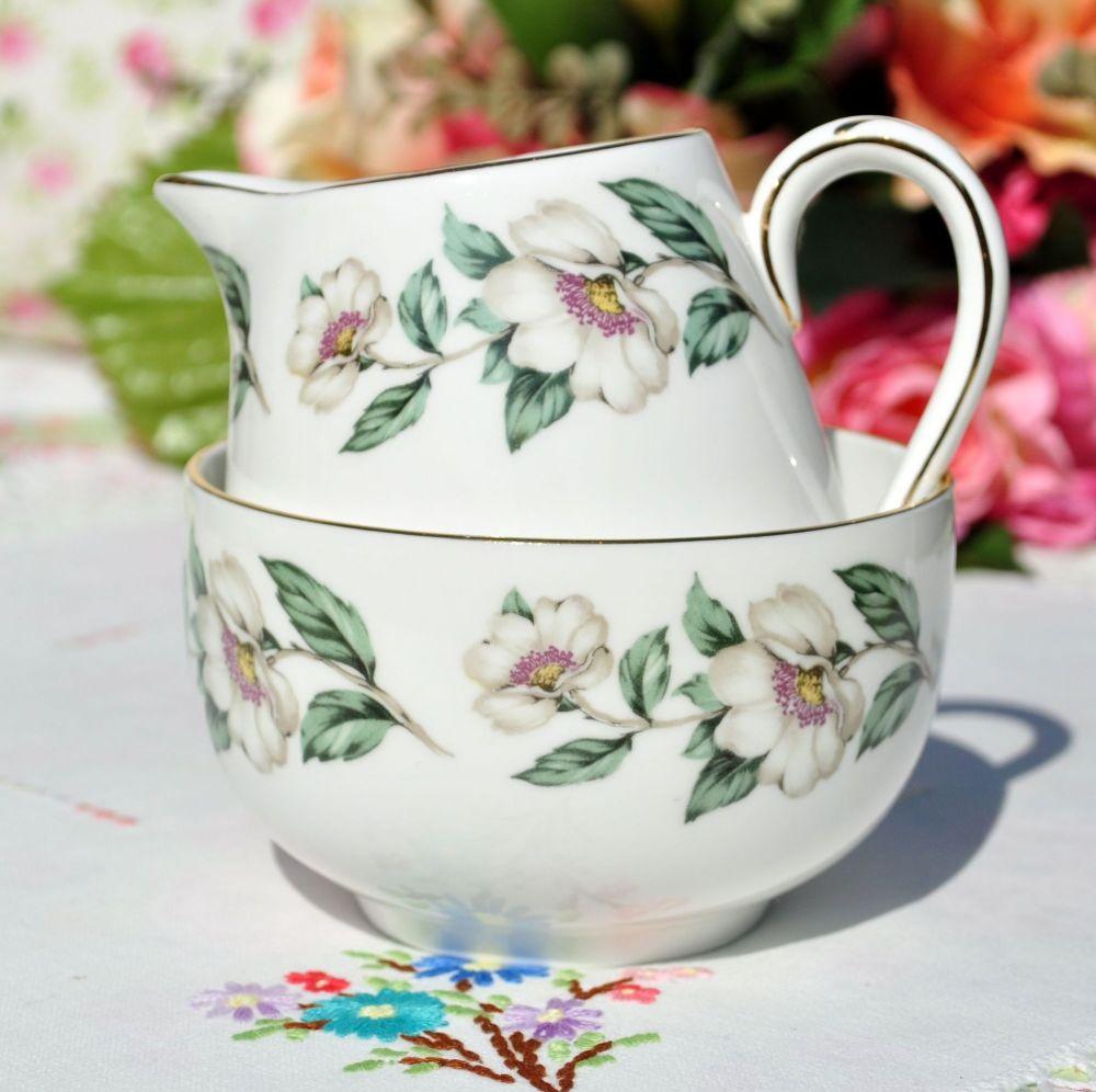 Crown Staffordshire Wild White Rose Milk Jug and Sugar Bowl