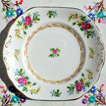 New Chelsea Vintage Floral China Cake Plate c.1936+