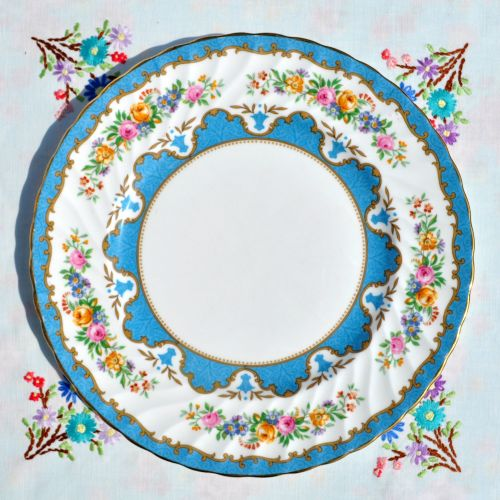 Crown Staffordshire Tunis Blue 26cm Plate c.1930s