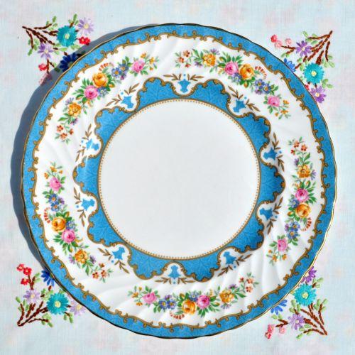 Crown Staffordshire Tunis Blue 26cm Plate c.1930s