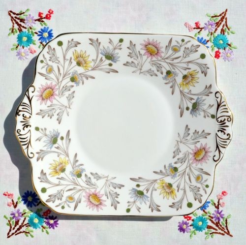 Foley Somerset Floral China Cake Plate c.1950s