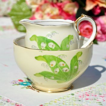 Roslyn Lily Of The Valley Milk Jug and Sugar Bowl c.1950s