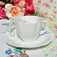 Royal Crown Derby White China Teacup and Saucer c.1942