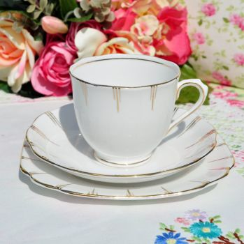 Antique Royal Albert White and Gold Teacup Trio c.1917