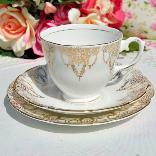 Royal Stuart Classical Gold Border Teacup Trio c.1950s
