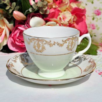 Royal Vale Green and Gold Filigree Teacup and Saucer
