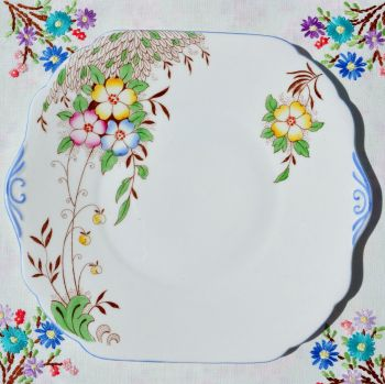Stanley China Hand Painted Cake Plate c.1950s