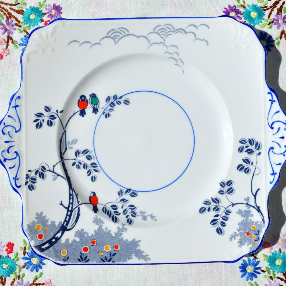 Foley China Little Birds Cake Plate c.1920s