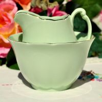 Glade Green China Milk Jug and Sugar Bowl c.1950s