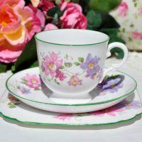 Tuscan Green Rim Floral Teacup Trio c.1936+